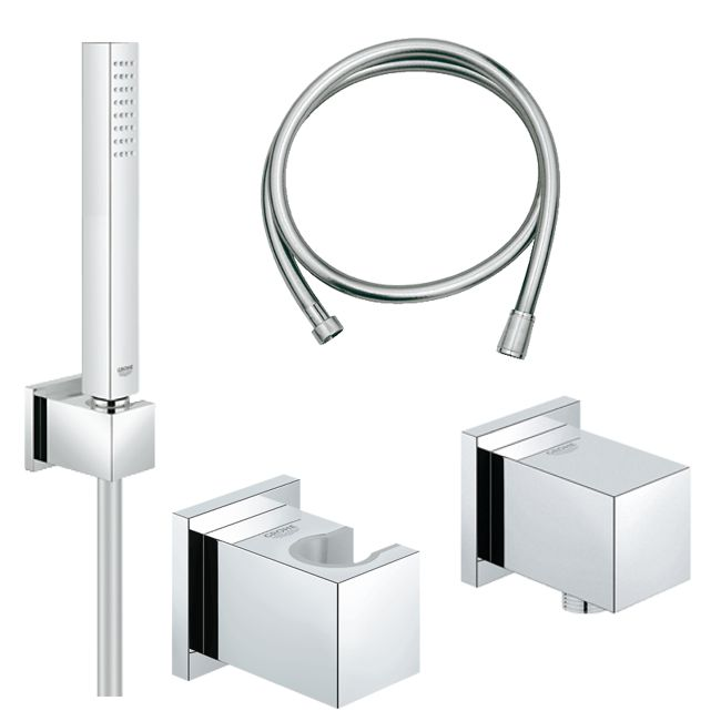 grohe euphoria cube set handbrausegarnitur mit wandanschlussbogen 27702 27704 ebay. Black Bedroom Furniture Sets. Home Design Ideas