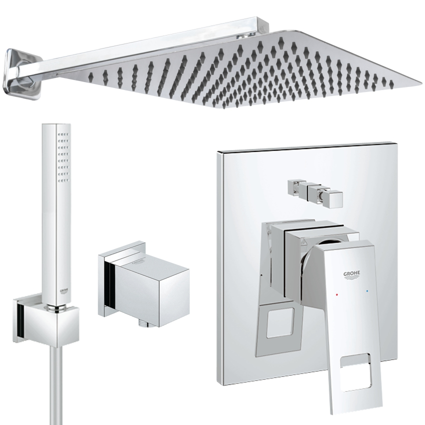 unterputz duschsystem kopfbrause 300 x 300 mm grohe eurocube regendusche set ebay. Black Bedroom Furniture Sets. Home Design Ideas