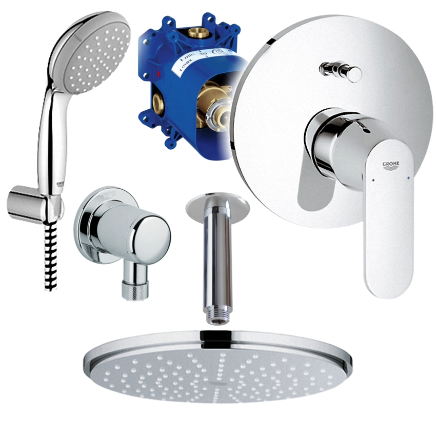 grohe unterputz duschsystem mit kopfbrause eurosmart cosmopolitan rainshower ebay. Black Bedroom Furniture Sets. Home Design Ideas