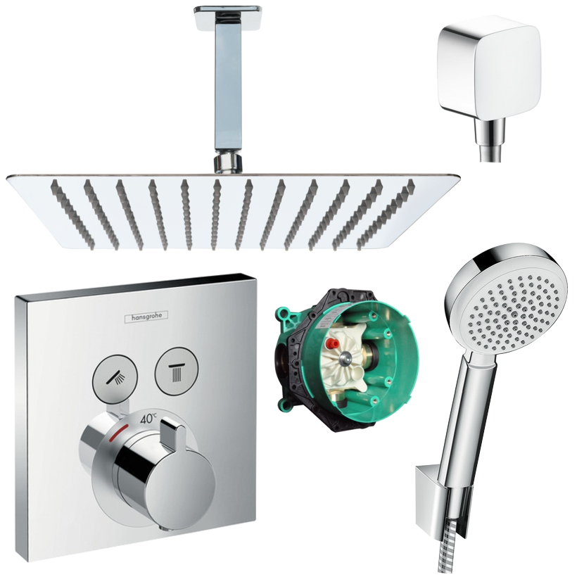 hansgrohe shower select thermostat up duscharmatur set. Black Bedroom Furniture Sets. Home Design Ideas