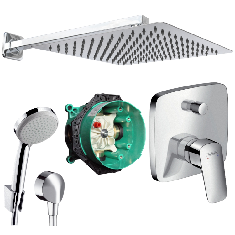 hansgrohe logis unterputz duscharmatur regendusche kopfbrause 30cm set ibox ebay. Black Bedroom Furniture Sets. Home Design Ideas