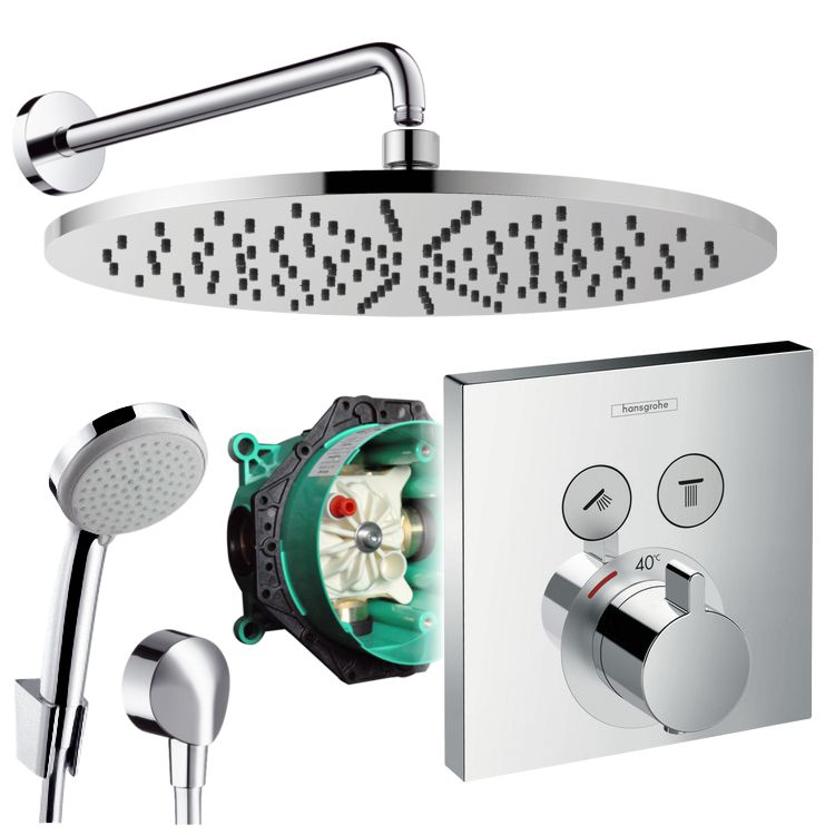 hansgrohe unterputz duschsystem mit 300 mm kopfbrause shower select thermostat ebay. Black Bedroom Furniture Sets. Home Design Ideas