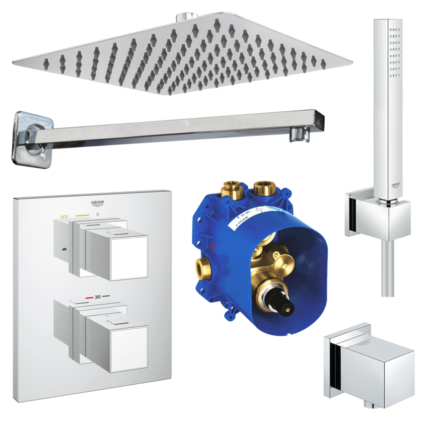 unterputz duschsystem mit kopfbrause grohe grohtherm cube thermostat euphoria ebay. Black Bedroom Furniture Sets. Home Design Ideas