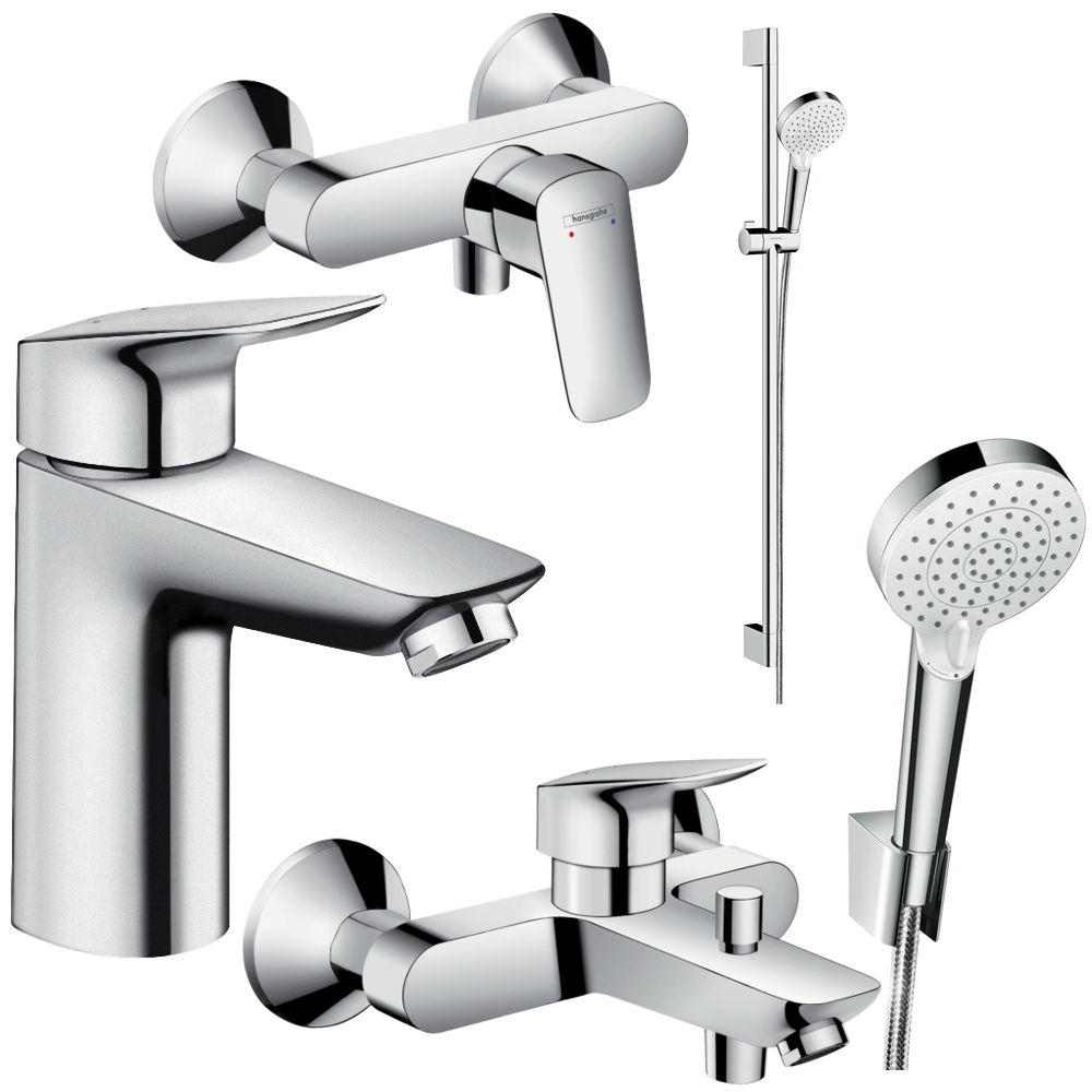 hansgrohe logis 100 crometta vario bad armaturen set waschtisch dusche wanne ebay. Black Bedroom Furniture Sets. Home Design Ideas