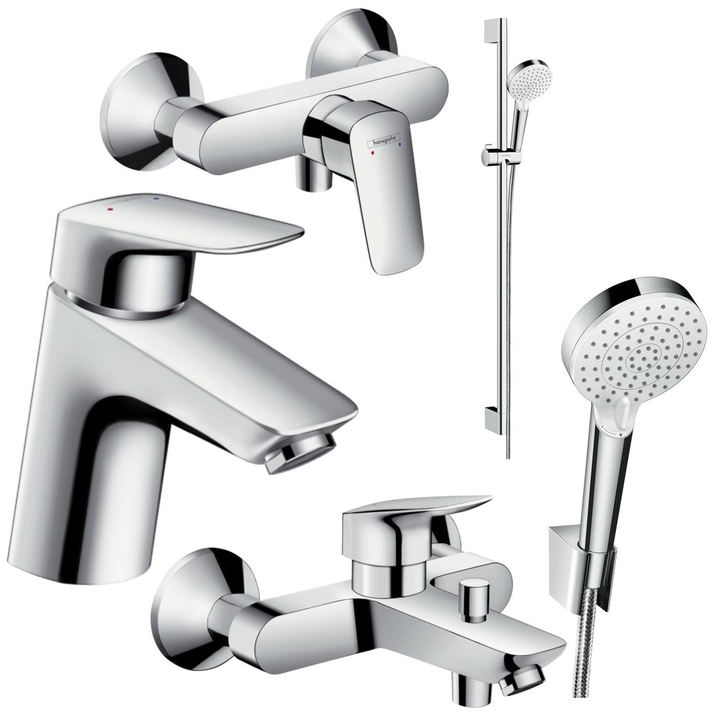 hansgrohe logis 70 crometta vario bad armaturen set waschtisch dusche wanne ebay. Black Bedroom Furniture Sets. Home Design Ideas