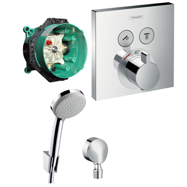 hans grohe shower select thermostat unterputz wannen armatur set up croma 100 ebay. Black Bedroom Furniture Sets. Home Design Ideas